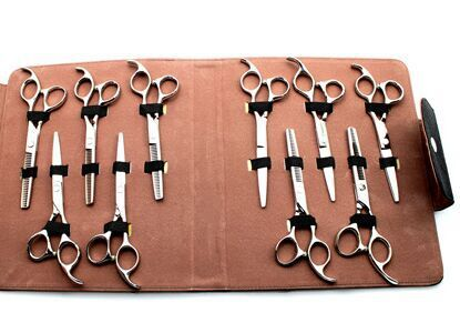21x25cm Put 10pcs Leather Hairdressing Tools Bags Pet Hair Scissor Case Waist Pack Pouch Holder Hair Styling Tools Accessories