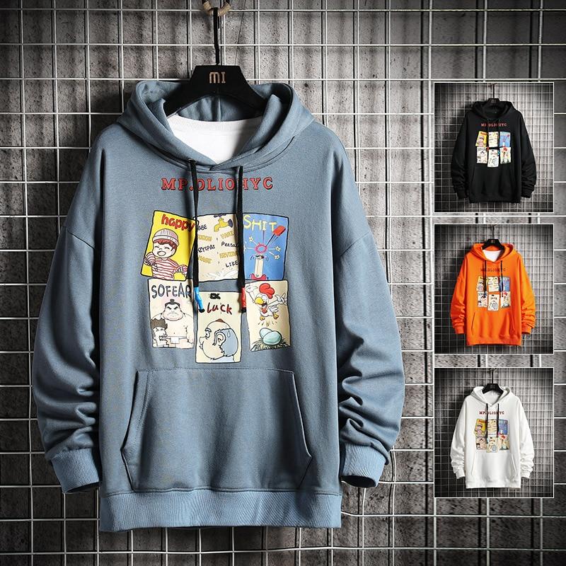 Hoodies Anime Print Hoodies with Hat Men Hoodie Loose Hooded Sweatshirt Sudaderas Hombre Streetwear