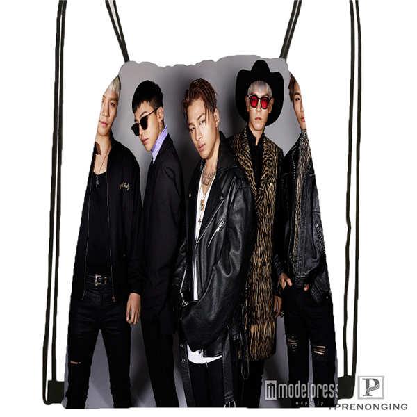 Custom Big Bang  (45)  Drawstring Backpack Bag Cute Daypack Kids Satchel (Black Back) 31x40cm#180612-03-big Bang