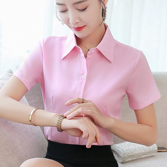 Korean Fashion Summer Cotton Women Shirts White Short Sleeve Women Blouses Ladies Plus Size 5XL Pink Womens Tops and Blouses 2