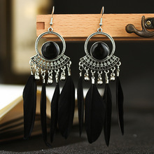 Bohemian Feather Tassel Earrings For Women Ethnic Style Antique Silver Hollow Round Feather Dangle Earrings bohemian rainbow colors feather tassel earrings 2019 ethnic vintage hollow out beads dangle earrings for women indian jewelry