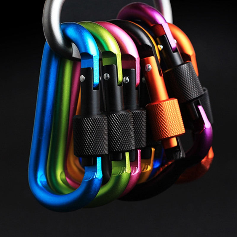 Aluminum D Shape Buckle Carabiner Survial Key Chain Carabine Hook Clip Camping Equipment EDC Paracord Buckles