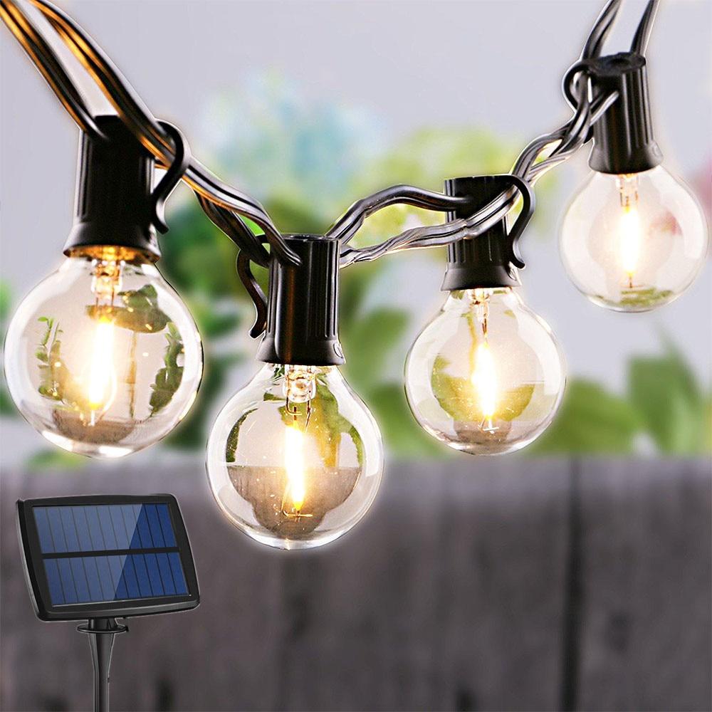 LED String Lights Solar Power Glass Bulb Electric Garland Retro Edison 25ft Lighting String Umbrella Light For Garden Waterproof