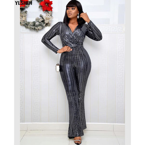 2020 Jumpsuit Africa Clothing African Dresses for Women Elastic Sequins Bodysuit Jumpsuits Overalls Plus Size African Clothes