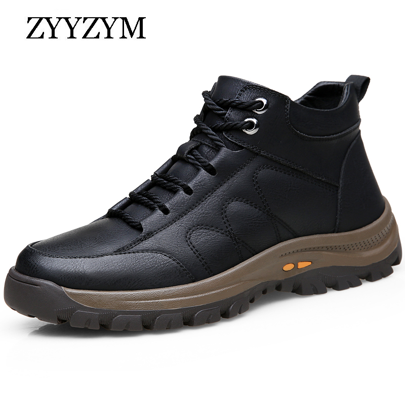 ZYYZYM Autumn Winter Men Boots Wool Fur Thick Composite Sole Casual Shoes Cowhide Leather Sewing Outdoors Ankle Boots for Man|Basic Boots| - AliExpress