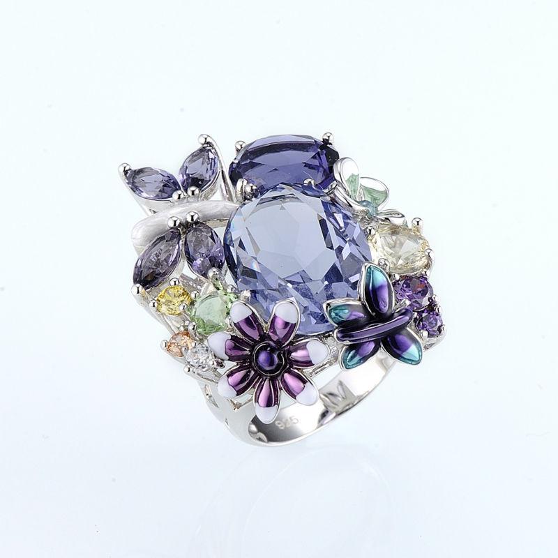 Fashion Design Elegant Butterfly Flower Rings for Women Handmade Enamel Crystal Luxury Wedding Banquet Finger Ring Jewelry