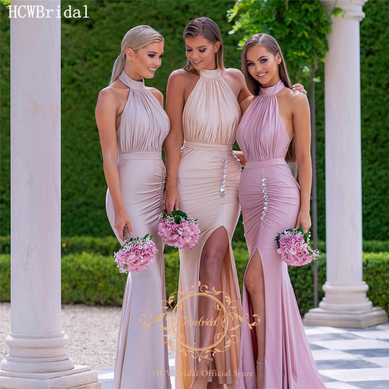 Dusty Rose Mermaid Backless Sexy Prom Dresses With Crystals Side Slit Halter Pleat Satin Plus Size Bridesmaid Wedding Party Gown