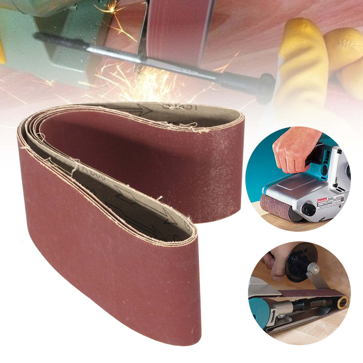 5Pcs Sanding Belts Grinding Polishing Aluminum Oxide Abrasive Sanding Belts 800 Grit Sander Machine File Belt Set Abrasive Tools