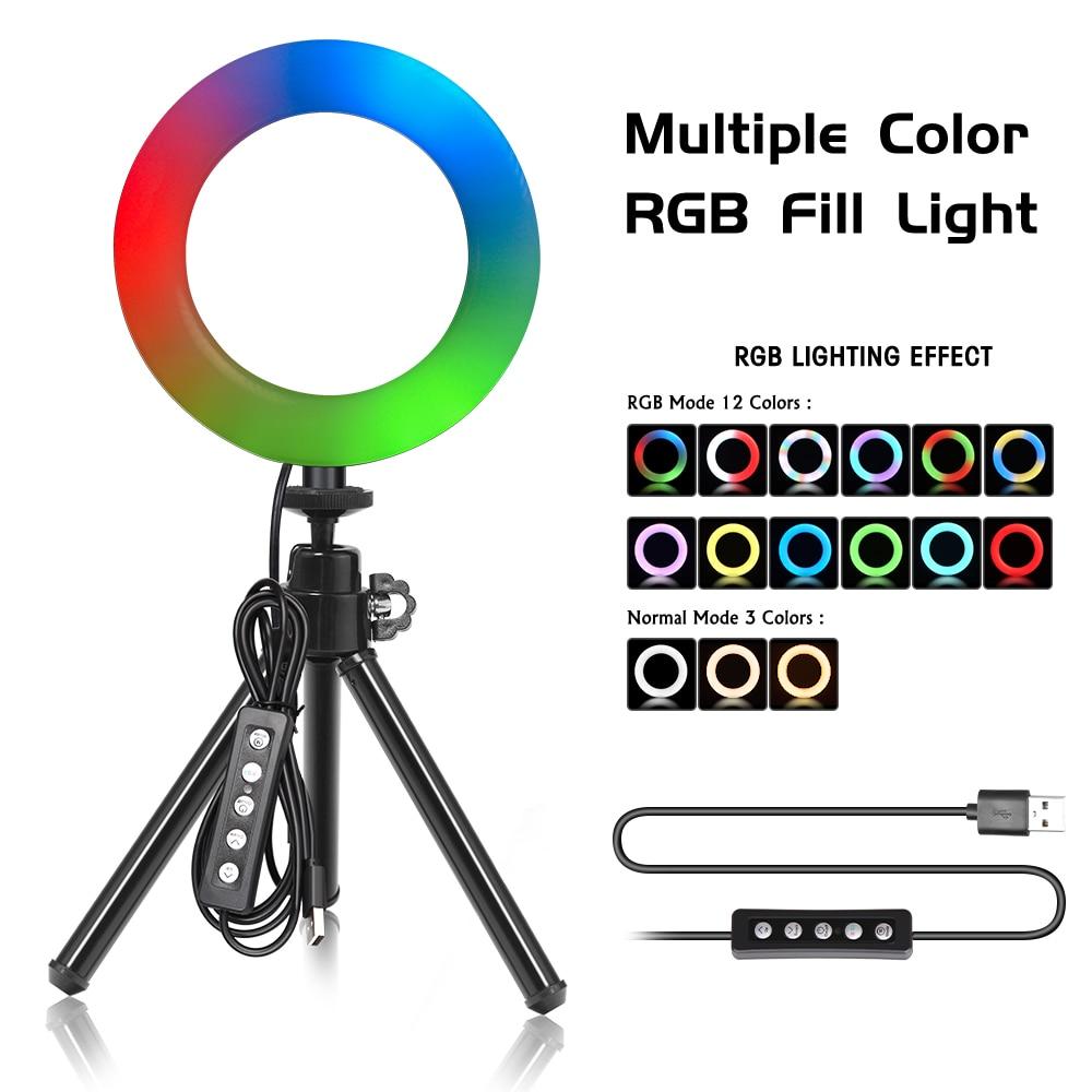 6 polegada rgb led anel de vídeo luz selfie anel lâmpada 15 cores 3 modelo com tripé suporte usb plug para youtube ao vivo maquiagem fotografia
