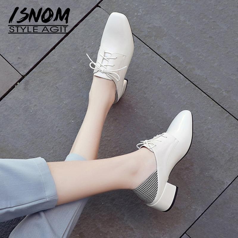 ISNOM  Square Toe Pumps Med Heels Patchwork Pantent Leather Shoes Fashion 2020 Lace Up Shoes Rubber Sole Shoes