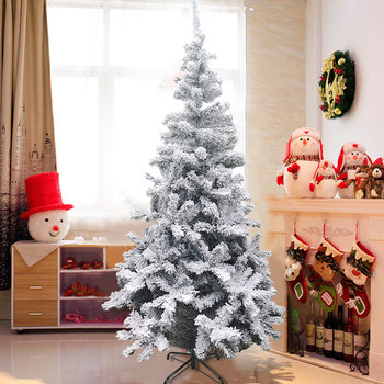 Snow Flocked Hinged Artificial Christmas Pine Tree Decoration Holiday with Metal Stand