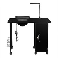 Manicure Nail Table Station Steel Frame Beauty Salon Equipment Drawer Lamp Single Door Nail Table Nail Table With LED Light