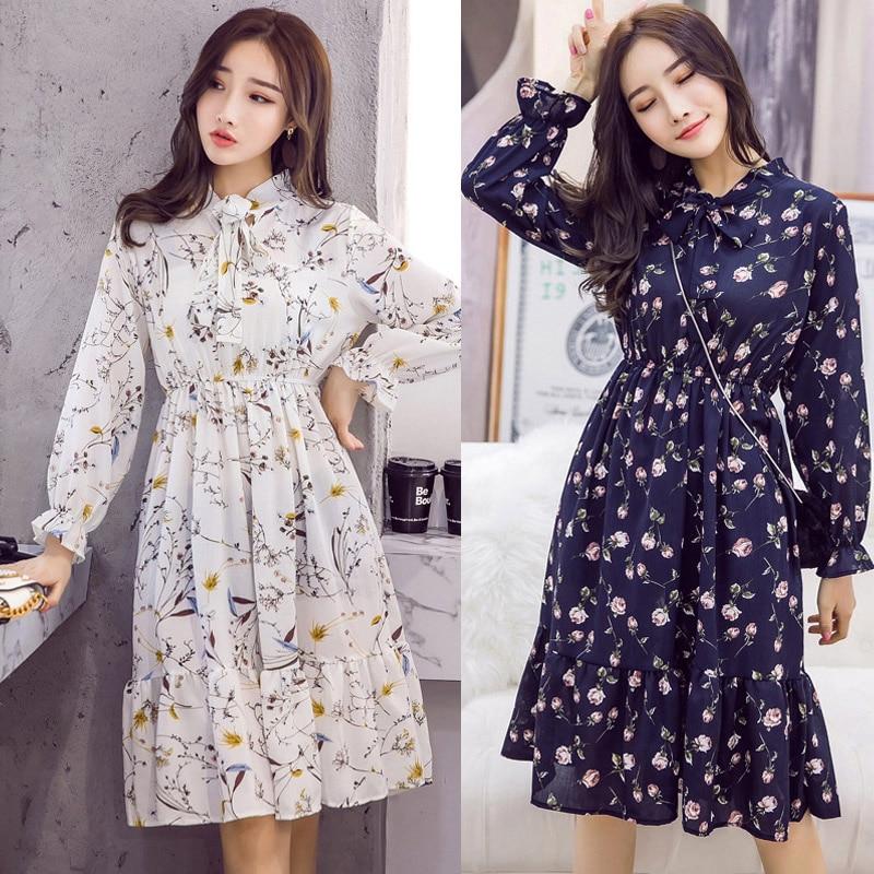 Plus Size 2020 Women Autumn Dresses Bohemian Long Sleeve Chiffon Shirt Dress White Bow Floral Boho Club Party Dress Winter 3XL(China)
