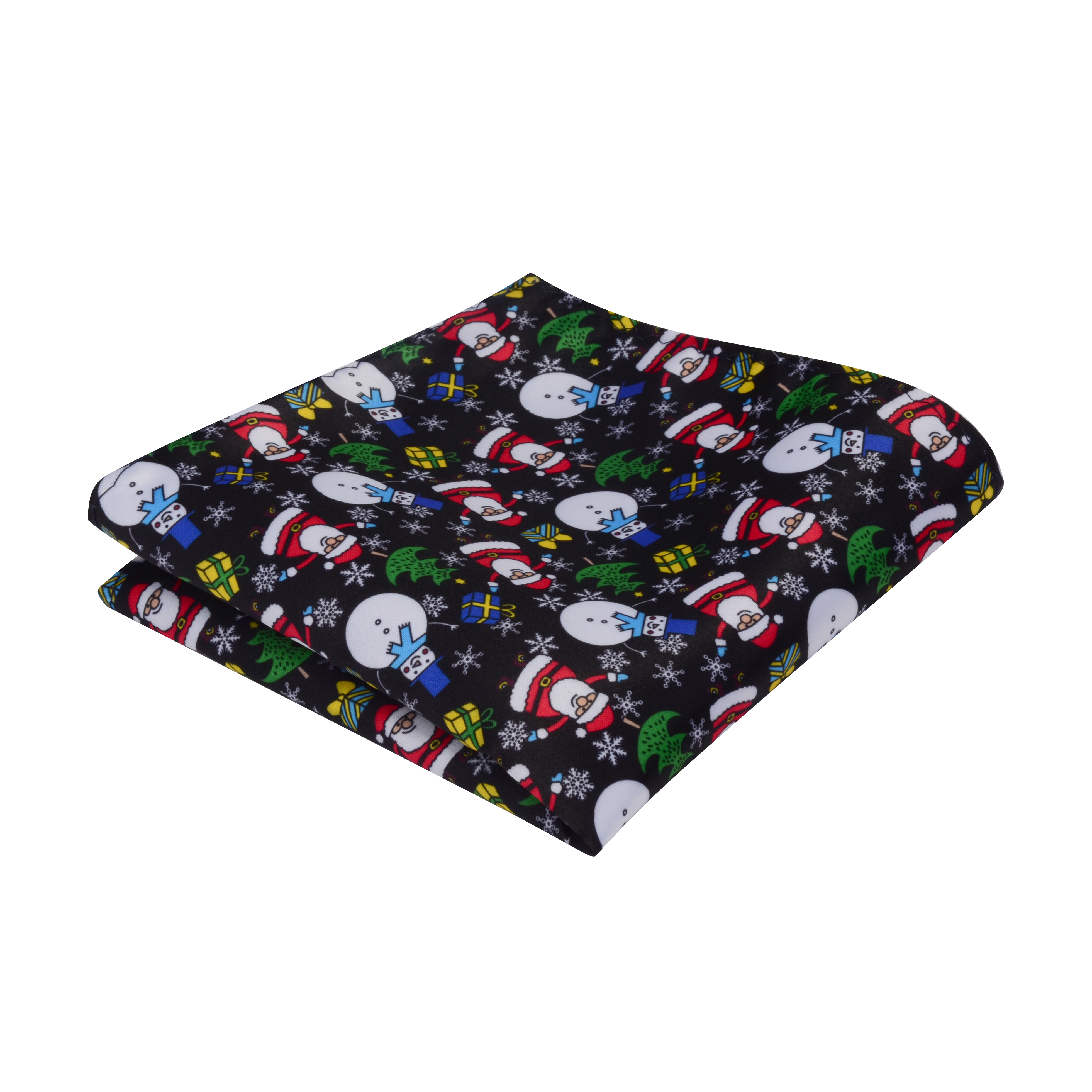 Ricnais Silk 25cm*25cm Handkerchief Yellow Red Chirstmas Tree Snowman Print Pocket Square For Men Coustomer Hanky Chirstmas Gift