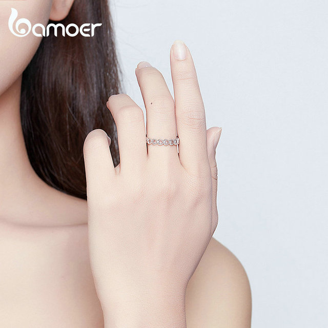 bamoer Trendy Classic Silver Ring Minimalist Simple Love Forever Heart Circle Ring Female Fine Jewelry Original Design GO7223