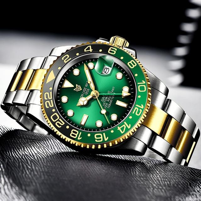 Фото часы lige мужские наручные механические роскошные модные водонепроницаемые