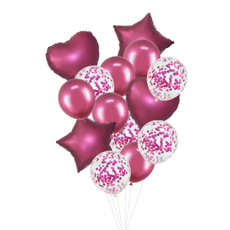 14Pcs/set 18inch Heart Star Foil Confetti Latex Balloons For Birthday And Wedding Party Decor 27