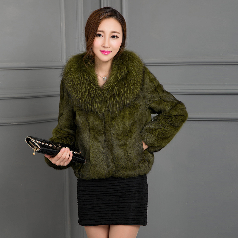 Fur Rabbit Real Coat With Natural Raccoon Fur Collar Winter Jacket Women 2020 Fashion Short Coats Lady Outerwear WYQ827 S