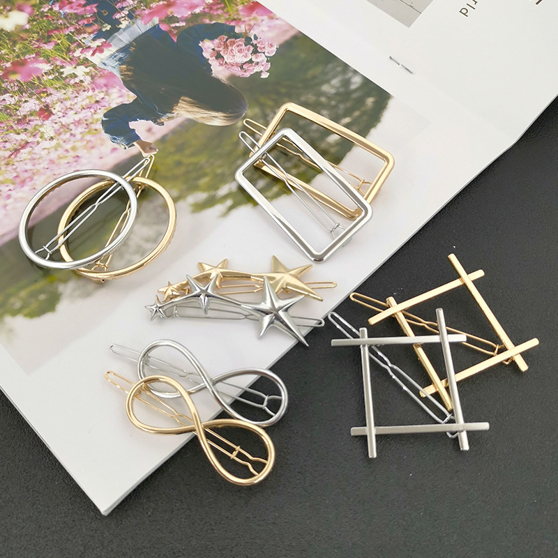 Fashion Stars  Triangle Geometric  Hair Clips For Women Accessories Gold Silver Geometric Hair Clip Pins Alloy  Circle Hair Grip