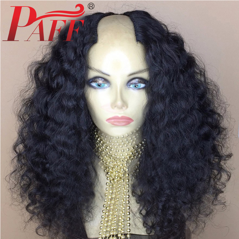 PAFF 250% Density U Part Human Hair Wigs 2*4 opening Water Wave Peruvian Remy Glueless Pre Plucked Baby