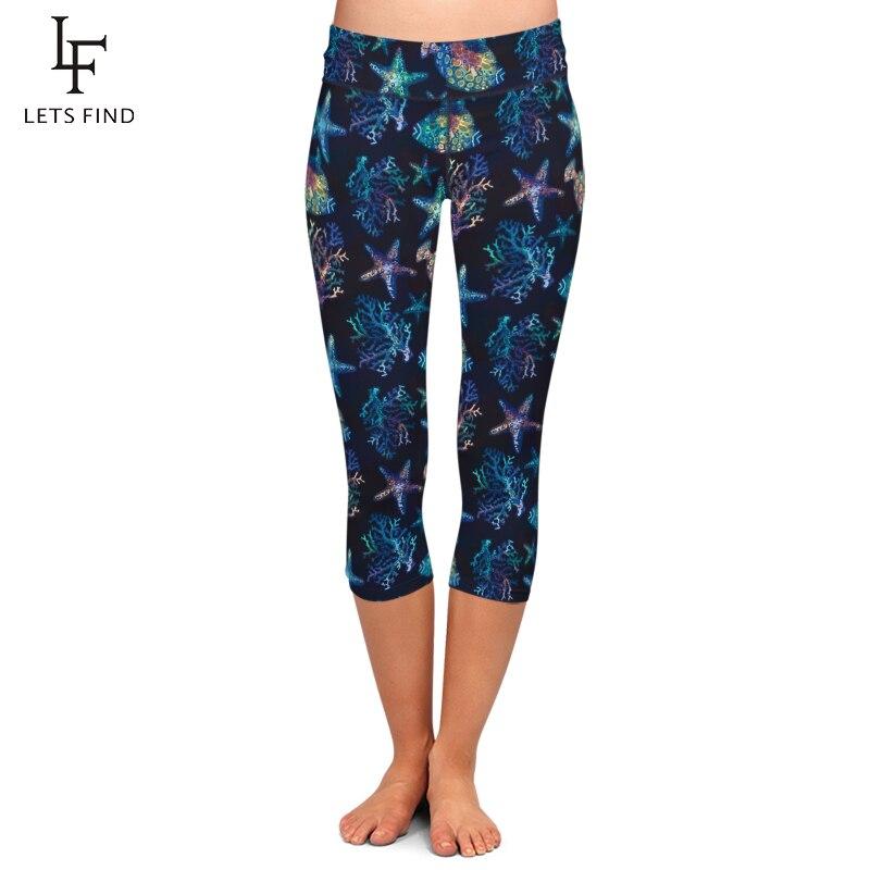 LETSFIND Beautiful Starfish And Fish Print Women Capri Legging High Waist Plus Size Mid-Calf 3/4 Stretch Black Leggings