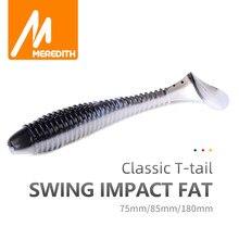 MEREDITH — Leurres de pêche souples en silicone, Fat Swing Impact, Wobbler, appât à queue de pagaie, pour bar