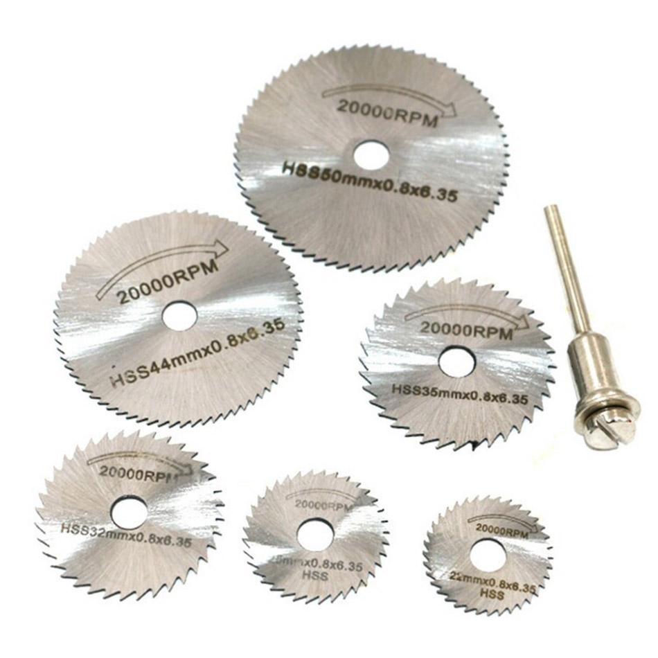 7pcs New Portable Rotary Tool Circular Saw Blades Cutting Discs Mandrel For Dremel Cutoff