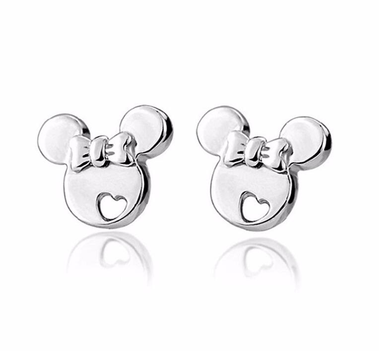 925 sterling silver earrings Cute Cartoon micky stud earrings for women