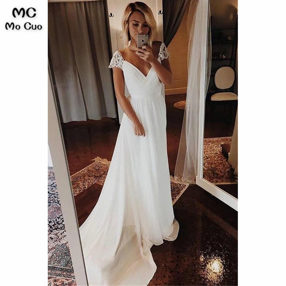 Simple A Line Chiffon Wedding Dresses Cap Sleeve V Neck Bohemian Beach Bridal Gowns Vestidos De Novia Bridal Dress Wedding Gown