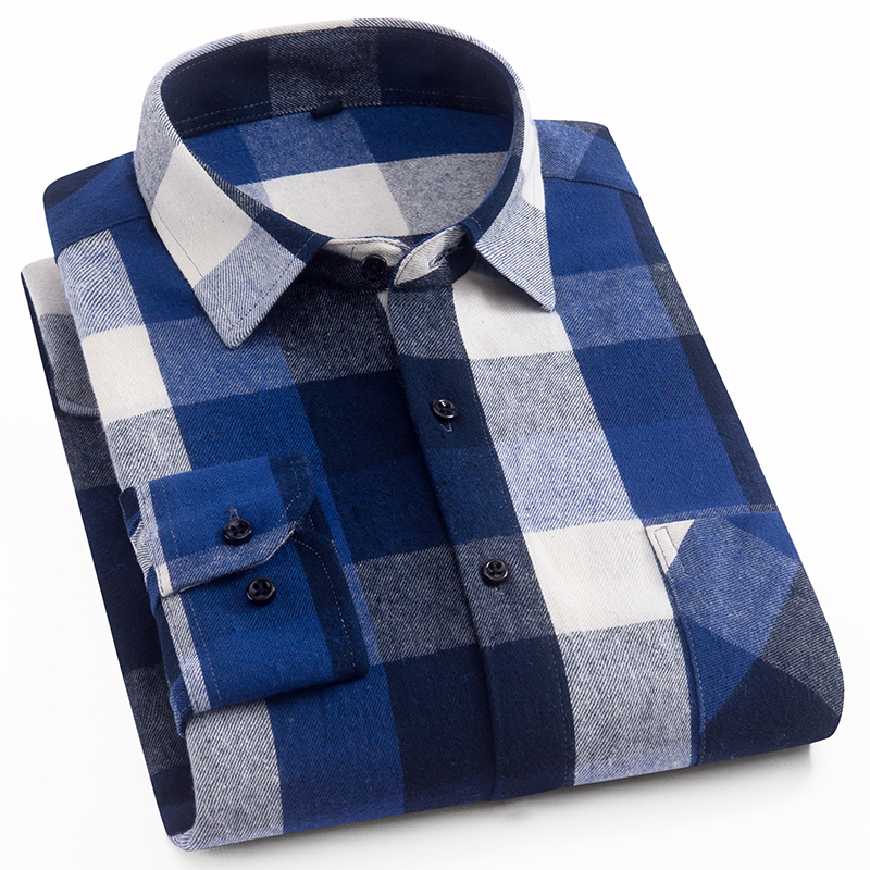 Aoliwen 2019 100%cotton Palid Shirt Men Flannel High Quality Spring Autumn Long Sleeve Shirt Button Down Slim Fit Casual Shirt