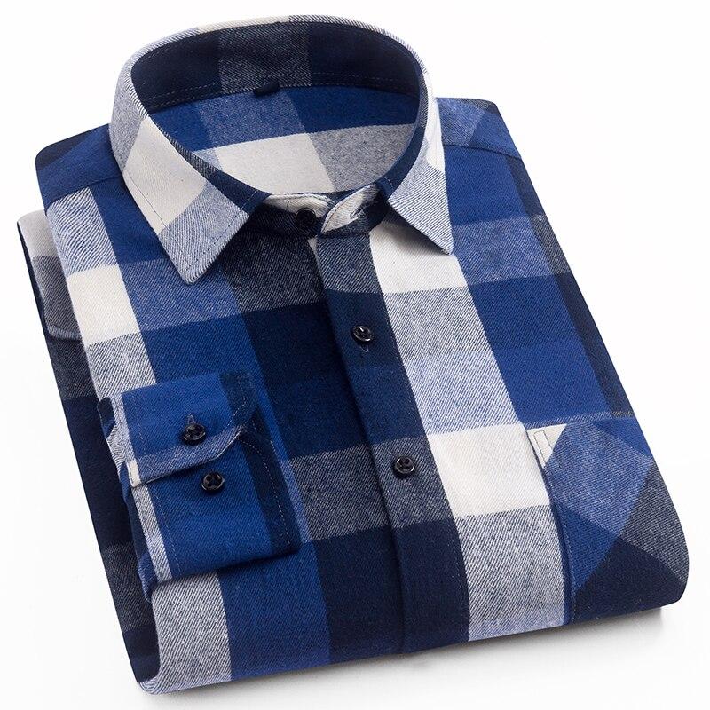 Aoliwen 2019 100%cotton Palid Shirt Men Flannel High Quality Spring Autumn Long Sleeve Shirt Button Down Slim Fit Casual Shirt