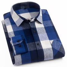 Aoliwen 2019 100%cotton palid shirt men flannel high quality spring autumn long sleeve button down slim fit casual
