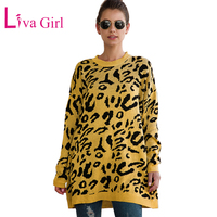 LIVA GIRL Plus Size Leopard Print Knitted Sweater Women 2019 Winter Autumn Casual Loose O Neck Long Pullover Female Sweaters XXL