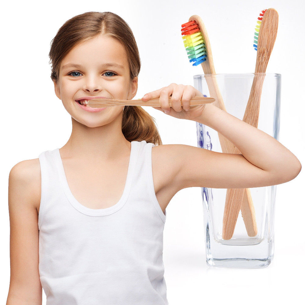 Fashion Toothbrush Biodegradable Rainbow Bamboo Tooth brush Eco friendly Bamboo Handle Soft Medium Bristle Adult Child Oral Care image