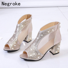 Sexy High Heels Sandals Shoes Woman Silver Rhinestone Wedding Shoes High Heels Party Shoes Summer Height Heels Sandals summer new sandals chunky heel floral silver wedding dress shoes rhinestone luxurious genuine leather prom party high heels