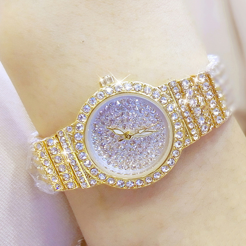 Bs Bee Sister Diamond Women Watches Luxury Brand Small Dial Female Rose Gold Watches Ladies Stainless Steel Lock Bayan Kol Saati 2