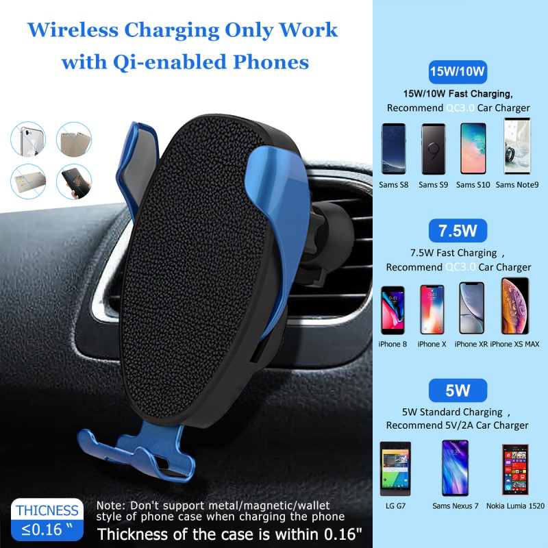 Convenient Wireless Car Charger Mount 15W Fast Charging Qi Charger Automatic Clamping Air Vent Phone Holder in Car Chargers from Cellphones Telecommunications
