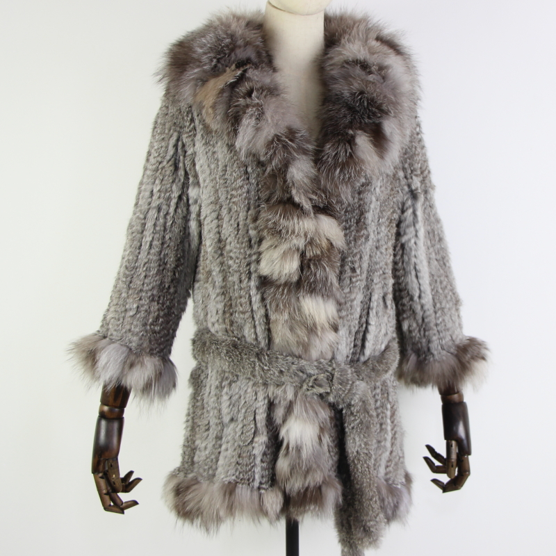 New arrival real rabbit fur coat women's warm natural fur long jacket with fox fur collar and belt size customized large size image