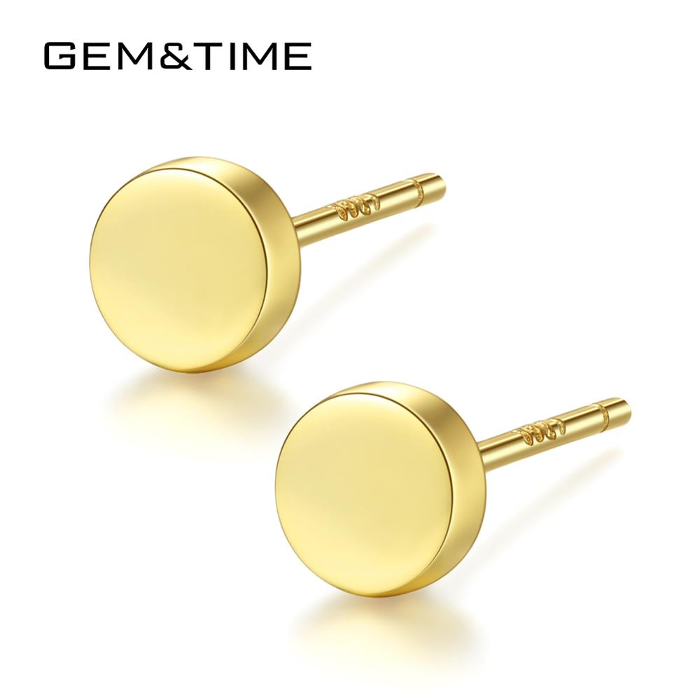 Gem&Time Minimalism 925 Silver Round Small Stud <font><b>Earrings</b></font> <font><b>For</b></font> Women <font><b>Men</b></font> Polished Circle <font><b>Earrings</b></font> Boucle Oreille Jewelry SE0061 image