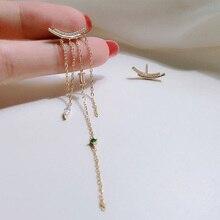Arc Asymmetric Water Drop Zircon Tassel Stud Earrings for Women 925 Sterling Silver Geometric Chain Earrings Girls Ear Jewelry недорого
