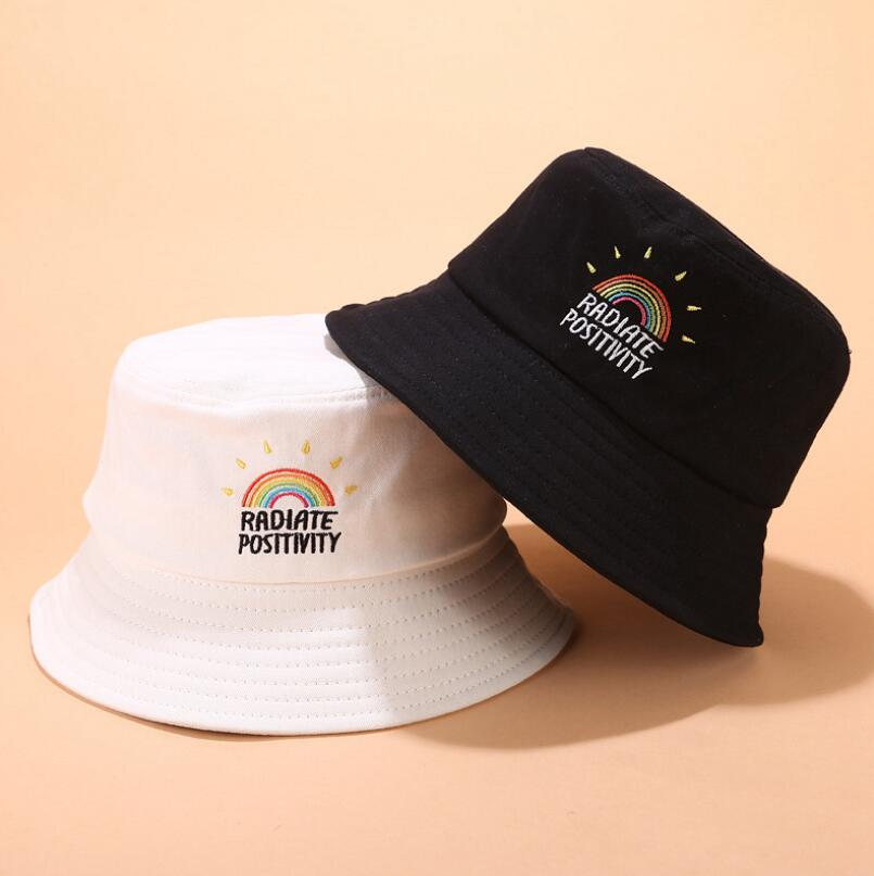 2019 New Rainbow Bucket Hat Cotton Unisex Bob Caps Hip Hop Gorras Men Women Panama Summer Color Sunscreen Bucket Hat
