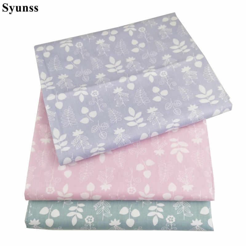 Syunss świeże liście bawełna z kwiecistym nadrukiem tkanina dla majsterkowiczów Patchwork pikowanie kołyski dla dzieci tkaniny poduszki koc szycie Tissus