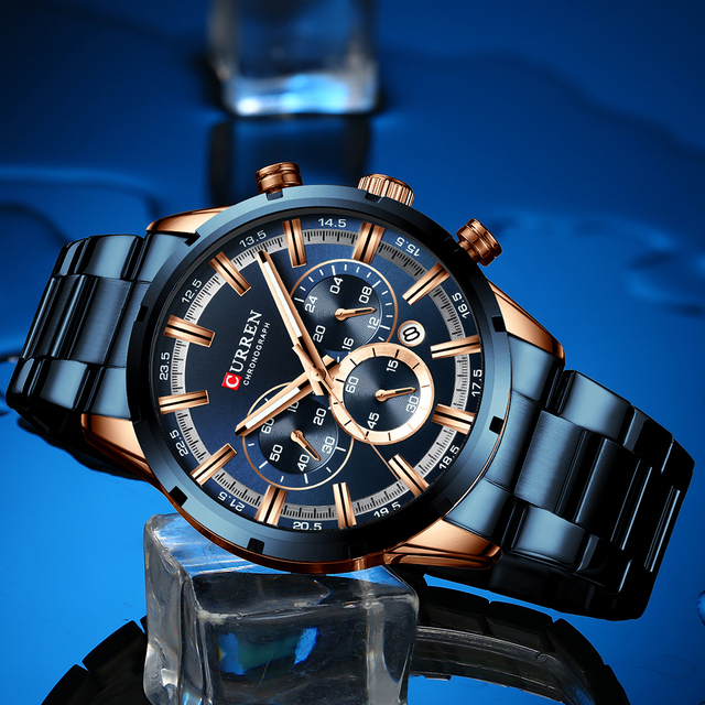 CURREN Mens Stainless Steel Luxury Chronograph Quartz Watch 3