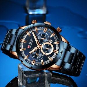 Image 3 - CURREN Relógios masculinos com aço inoxidável, a quartzo, com cronógrafo, esportivo, marca de luxo, nova moda em relógios de pulso para homens