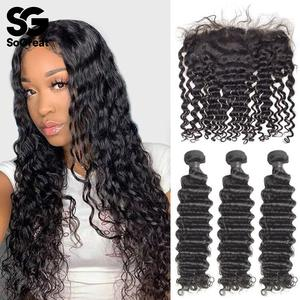 Human-Hair-Bundles Extension Frontal Brazilian-Hair Water-Wave 30-40inch Weave Curly