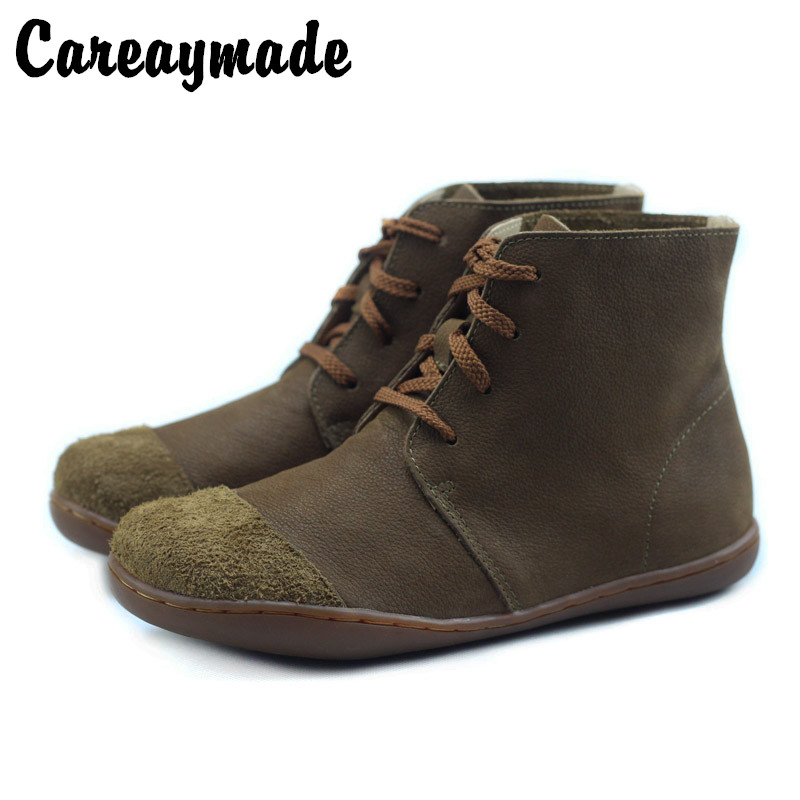 Careaymade-Cowhide cotton linen womens shoes, frosted leather antique casual handmade flat bottomed Martin boots