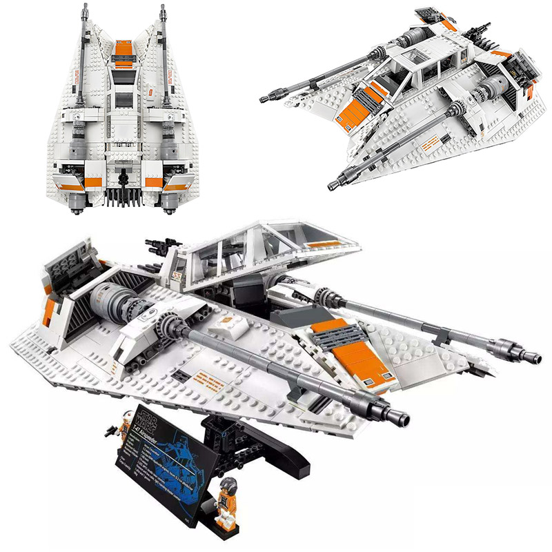 1468pcs Star Wars Series Snowspeeder Snowfield Aircraft Space Vehicles Building Blocks Toys Legoinglys StarWars