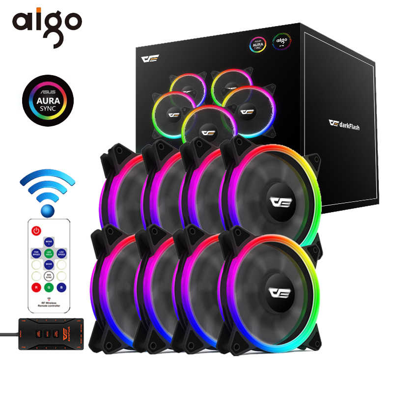 Aigo DR12 Pro Computer Pc Case Fan Rgb Passen Led Fan Speed 120 Mm Stille Remote Aura Sync Computer Koeler cooling Rgb Case Fans