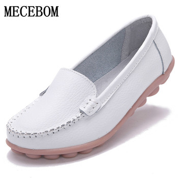 Women Flats Loafers Spring Autumn Genuine Leather Casual Shoes Female Slip On Comfortable Women's Soft Boat Shoes spring autumn soft bottom genuine leather comfortable flats large size women shoes flat with lace casual shoes elderly shoes