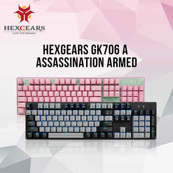 HEXGEARS GK706 Mechanical Gaming Keyboard Kailh MX Blue Switch 104 Key Water Resistance Mechanical Keyboard Pink